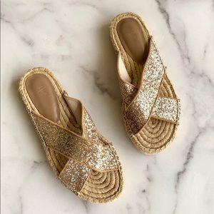 Joie Ianna Gold Sparkle Strap Espadrille Sandal 37